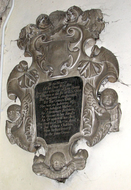 St Andrew's church in Northwold - C18 memorial