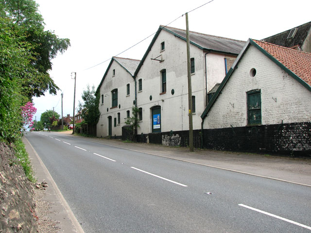 The A134 road past the former Whittington brewery