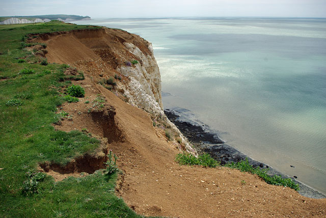Cliff top erosion, Seaford Head area