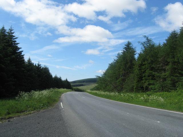 The B6457 heading towards Newcastleton