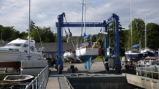 Yacht cradle on the dockside at Rhu Marina, Clyde