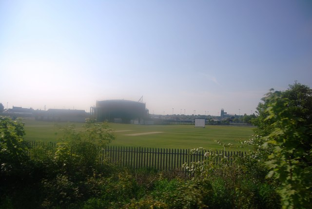 Bridlington Cricket Ground and gasholder