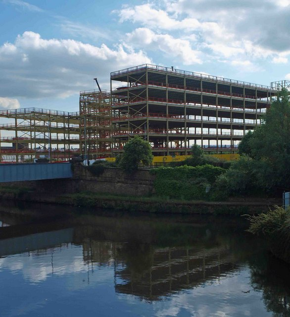 The new Rotherham Metropolitan Borough Council offices reflected in the River Don