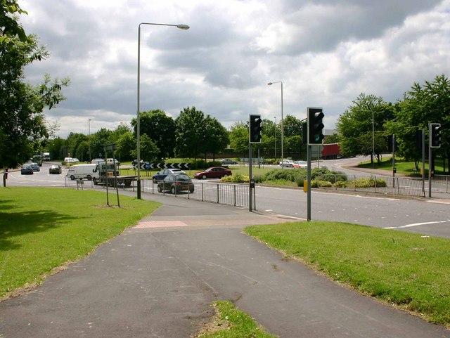 Scudamore Road roundabout on A563 New Parks Way