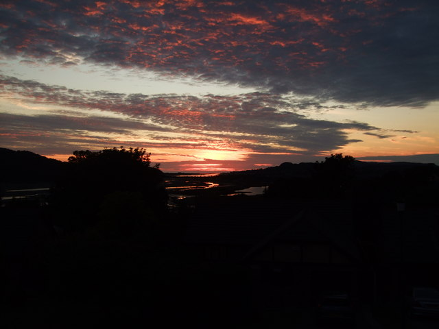 Sunset over River Conwy estuary