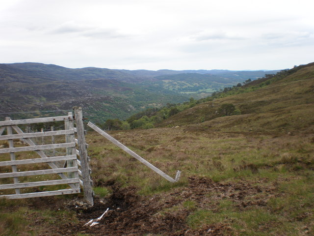 Gate into natural pine forest above Coille Gharbh