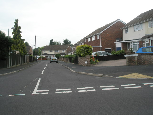 Looking from Corbett Road into Alexander Close
