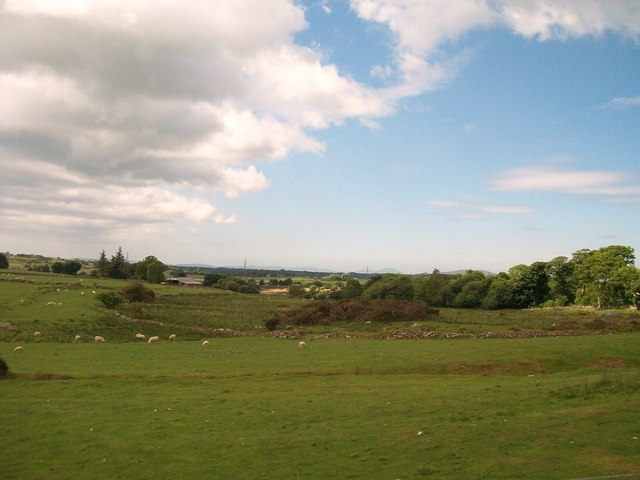 View across sheep pastures towards Rhwngddwyryd Farmhouse