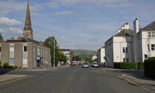 Church spire in central Helensburgh