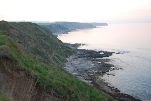 Wave cut platform north of Scalby Ness