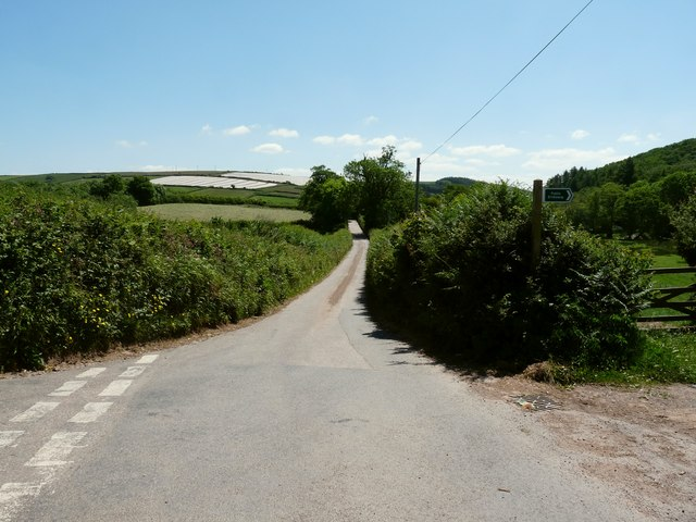 The Road between Spreacombe and the A361 with Willingcott Hill to the left
