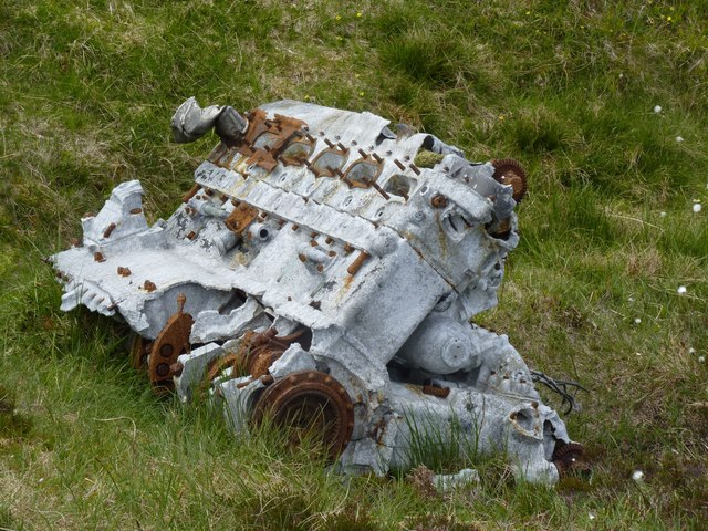 Engine of Fairey Firefly, Beinn Uraraidh, Islay