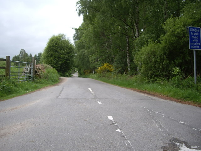 Single track road, with passing places