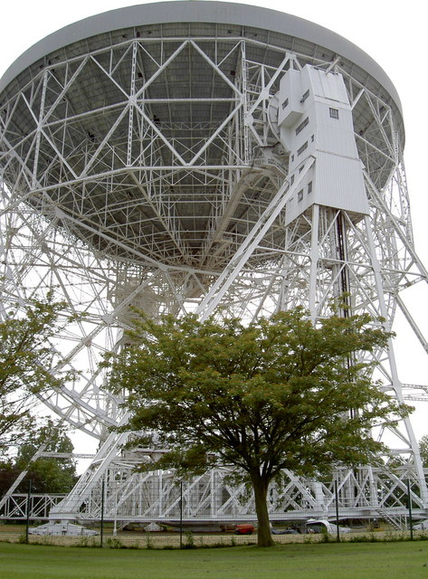 Lovell telescope by a tree