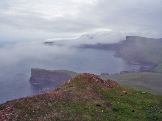 North from Gob na Hoe, in cloud