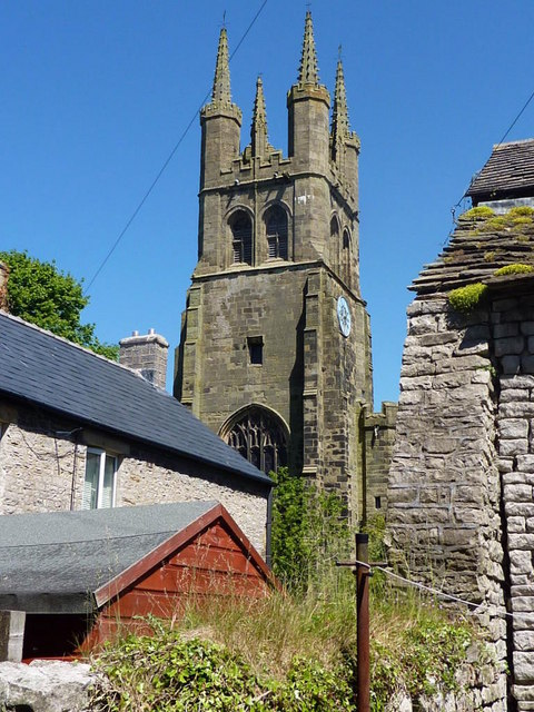 A glimpse of the church tower in Tideswell