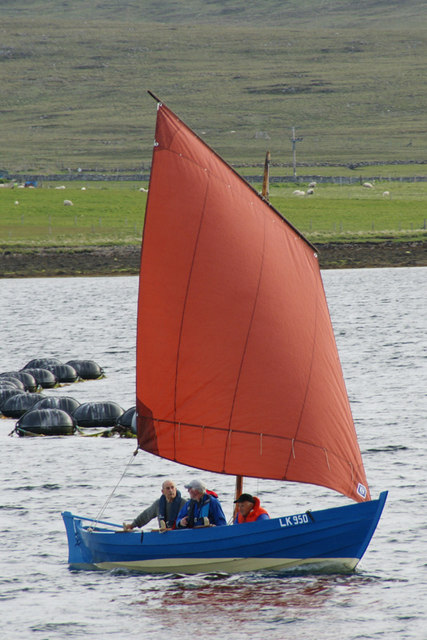 Restored fishing boat 'Active' in Baltasound voe