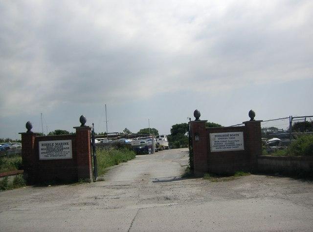 Entrance gateway to Ribble Marine Boatyard