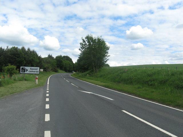 The A68 heading south towards Jedburgh