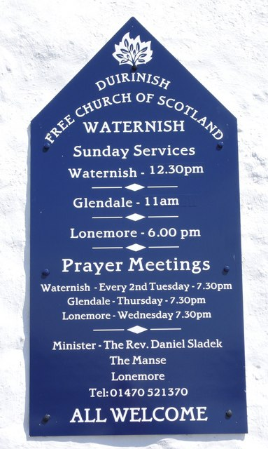Church notice - Waternish, Skye