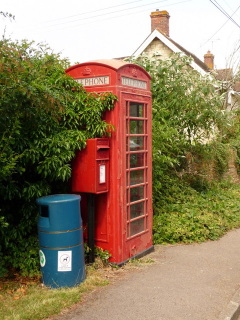 Fifehead Magdalen: postbox № SP8 62 and phone