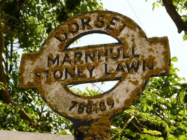 Marnhull: detail of Stoney Lawn finger-post