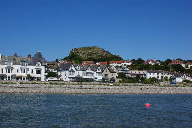 Shoreline developments at Deganwy with the site of the castle beyond