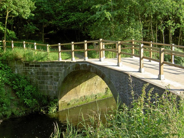 The destroyed (sorry restored) packhorse bridge over the River Dearne