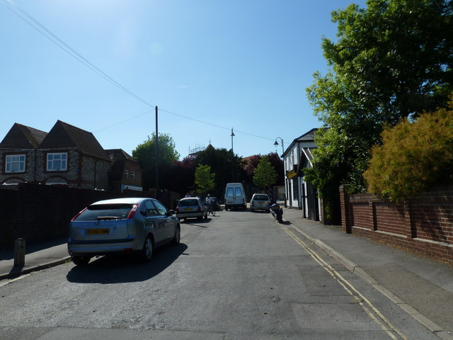 Looking up Stakes Road towards Purbrook Parish Church