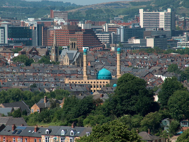 Wolseley Road Mosque and central Sheffield viewed from Meersbrook Park