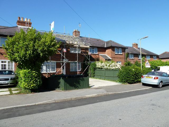 Scaffolding on a house in Stakes Road