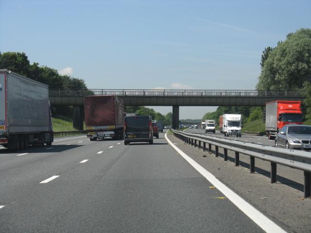 M62 motorway approaching Ring Farm overbridge