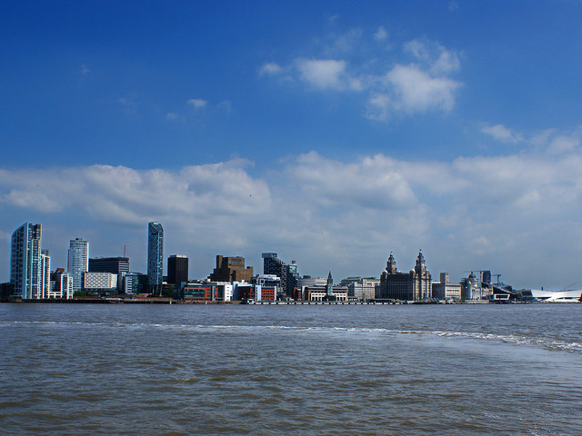 The Liverpool waterfront from Seacombe