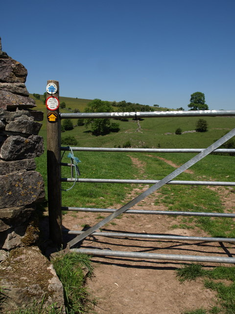 Gate and public footpath above River Hamps Valley