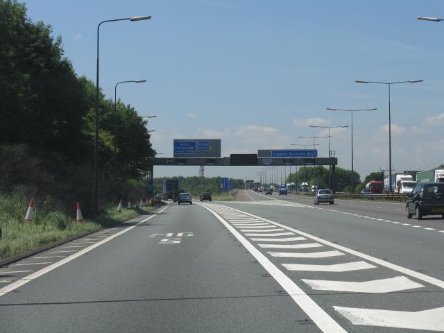 M62 motorway - M6 westbound sliproad, junction 12