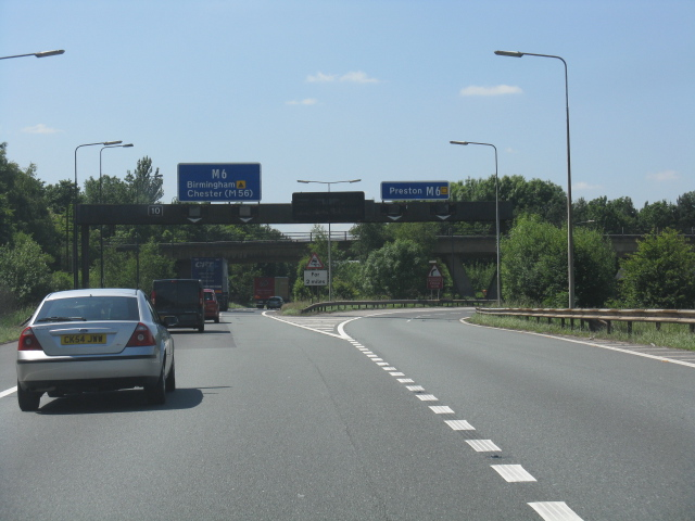 M62 motorway - M6 split at junction 12, westbound