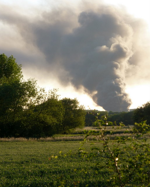 Fields near Scaftworth and distant smoke