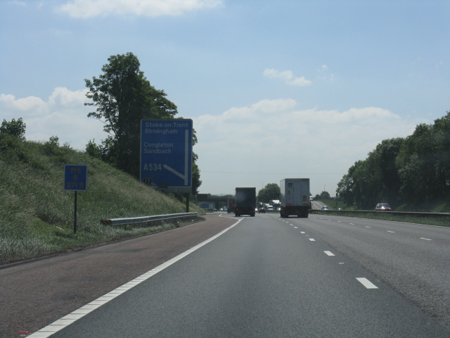 M6 motorway - approaching junction 17, southbound