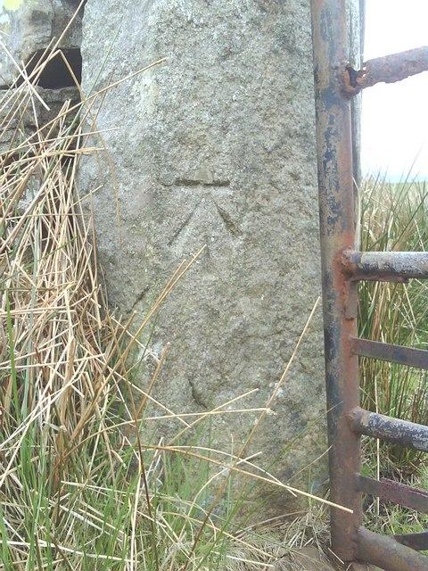 Benchmark on Coal Road gatepost