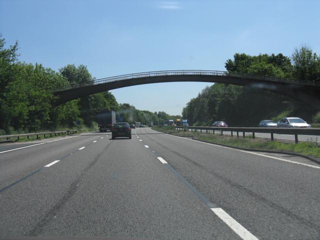 M6 motorway - footbridge near Moss Pit