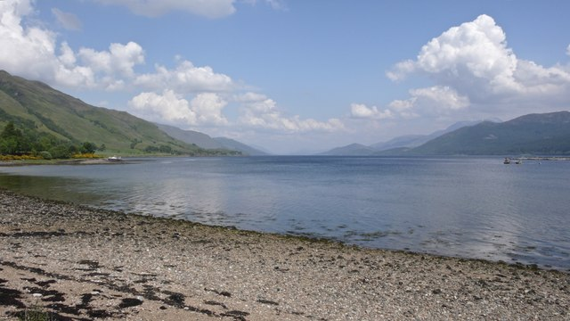 South west shore of Loch Linnie and view northwards