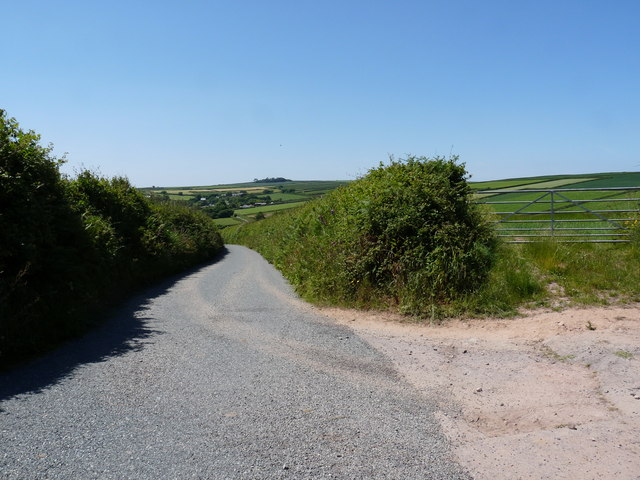 North Buckland Hill with Eastern Down Lane to the right