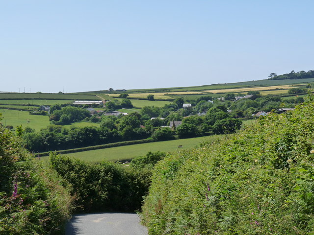 A view of North Buckland from North Buckland Hill