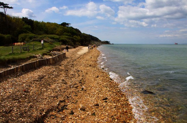 The beach by Fort Victoria Country Park