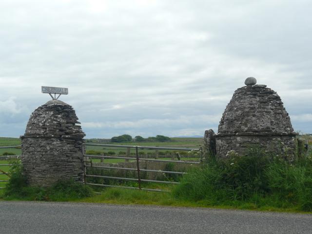 Gatepost on gate  to Greenvale