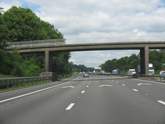 M6 motorway - farm access overbridge near Blakelow