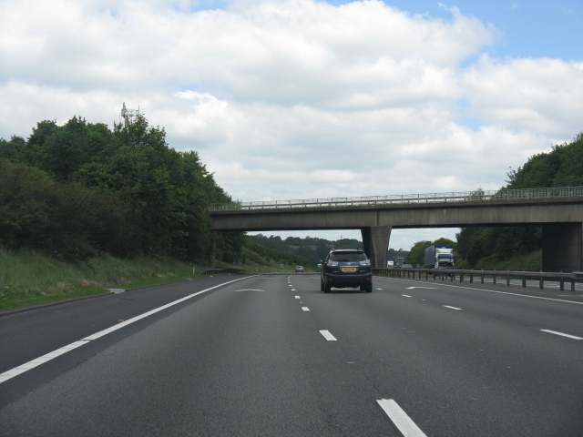 M6 motorway - A51 overbridge near Long Compton Farm