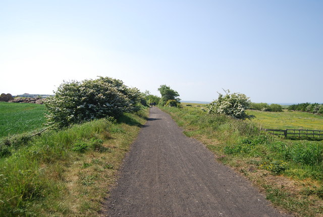 The old railway line heads west