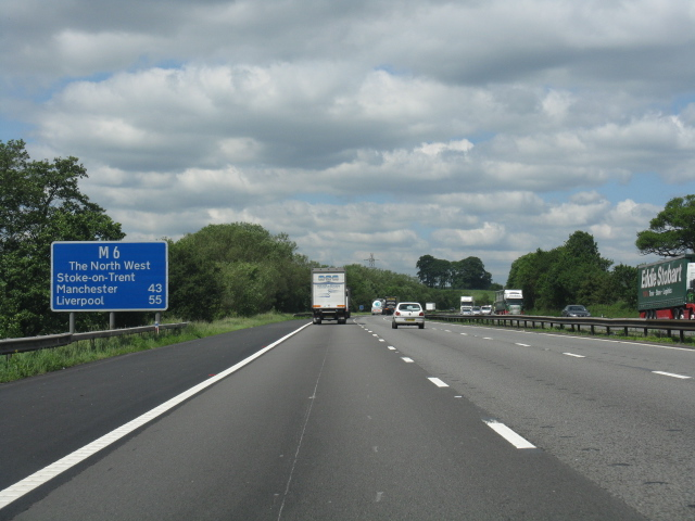 M6 motorway - route confirmatory sign north of junction 15
