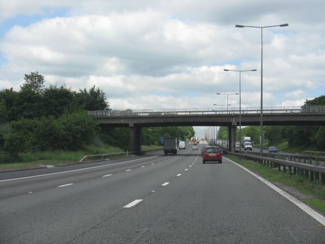 M6 motorway - A53 overbridge near Keele